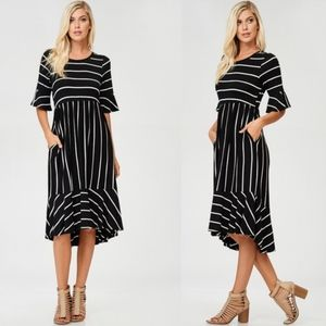CHARLA Striped Midi Dress - BLACK